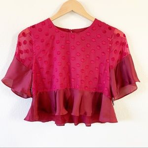 Lovers + Friends NWT Red Polka Dot Cropped Top